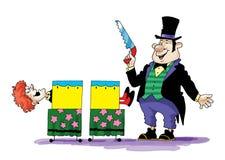 De medewerker van de goochelaarillusionist dronk circus Stock Foto