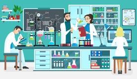 De medewerkers die van laboratoriummensen in wetenschappelijk medisch biologisch laboratorium werken Chemische experimenten Beeld vector illustratie
