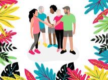 De medewerkers houden handen tussen samenwerking en collega's alvorens het te beginnen werk aan brainstorming, verhoudingen en ee royalty-vrije illustratie