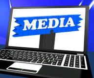 De media op Laptop tonen Internet-het Uitzenden Royalty-vrije Stock Afbeelding