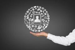 De media van de handholding pictogrammen Royalty-vrije Stock Afbeelding