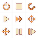De media van de pictogrammenstijl Geplaatste Pictogrammen Royalty-vrije Stock Afbeeldingen