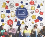 De Media van de technologieverbinding het Concept van de Mensengrafiek Royalty-vrije Stock Afbeeldingen