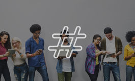 De Media van het Hashtagpictogram Sociaal Blog Postconcept Stock Foto's