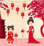 De medio-herfstfestival voor Chinees Nieuwjaar, Abstracte kaart vector illustratie