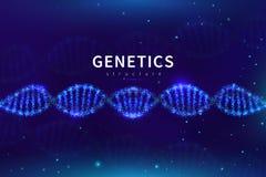 De medische achtergrond van DNA Biotechnologie, wetenschaps genetisch laboratorium Genoom die vectorachtergrond met 3d DNA-cel on stock illustratie