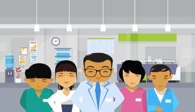 De medische Artsen groeperen Aziatisch Team Hospital Interior Background vector illustratie