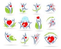 De medische pictogrammen van de menseninzameling royalty-vrije illustratie