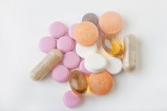 De medische pillen van de close-up Stock Afbeeldingen
