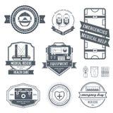 De medische reeks van het etiketmalplaatje Embleemelement voor uw product, embleem of ontwerp, Web en mobiele toepassingen met te Stock Afbeelding
