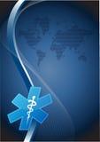 de medische symboolgolf en illustratie van de wereldkaart Stock Afbeeldingen