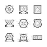 De medische vastgestelde pictogrammen van het Ziekenwagenetiket Royalty-vrije Stock Afbeeldingen