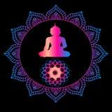 De meditatie van Boedha De godsdienst is Boeddhisme Kleurenmandala - ontspanning Royalty-vrije Stock Foto