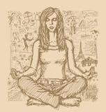 De Meditatie van de schetsvrouw in Lotus Pose Against Love Story Stock Afbeelding