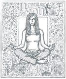 De Meditatie van de schetsvrouw in Lotus Pose Against Love Story Backgro Royalty-vrije Stock Afbeelding