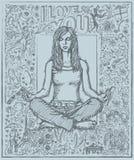 De Meditatie van de schetsvrouw in Lotus Pose Against Love Story Backgro Stock Afbeeldingen