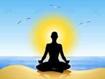 De Meditatie van de yoga op het Strand Royalty-vrije Stock Fotografie