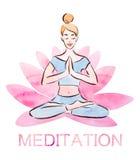 De meditatieaffiche, vrij jonge meisje het praktizeren lotusbloem stelt in een reuzelotusbloembloem, waterverftechniek royalty-vrije illustratie