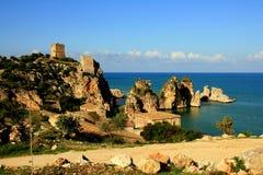 De mediterrane kust van Sicilië rseascaoe, Scopello Stock Afbeelding