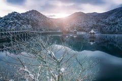 De meer-Sneeuw van sneeuwlulin scène in Onderstel Lu stock afbeeldingen
