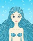 De meermin met blauw haar Royalty-vrije Stock Afbeeldingen