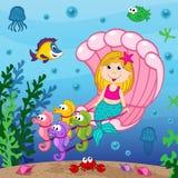 De meermin zwemt in de zeeschelp royalty-vrije illustratie