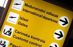 De meertalige tekens van de Luchthaven stock fotografie