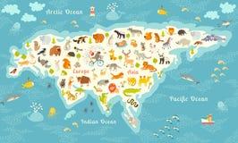 De meest gedetailleerde dierenwereldkaart, Eurasia Ook, vogels, het oceaanleven, reptielen, en zoogdieren Mooie vrolijke kleurrij stock illustratie
