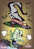 De meest spookiest Halloween-partijaffiche Het karakter van het monster Afschuwelijke tovenaar Vector illustratie Royalty-vrije Stock Afbeeldingen