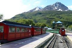 De meest zuidelijke spoorweg in de wereld op de rand van de Aarde Royalty-vrije Stock Foto