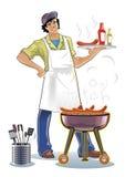 De meester van de barbecue Stock Afbeeldingen