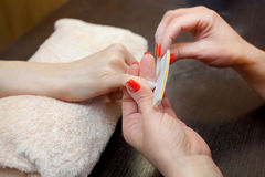 De meester van de manicure zaagt en maakt een spijkervorm tijdens de procedure van spijkeruitbreidingen met vast gel in de schoon stock afbeelding