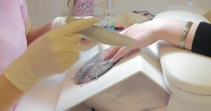 De meester van manicure controleert de mobiele telefoon, dan blijft werkend stock video