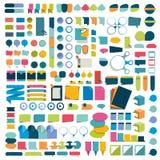 De mega vastgestelde elementen van het infographics vlakke ontwerp, regelingen, grafieken, knopen, toespraak borrelt, stickers Royalty-vrije Stock Afbeeldingen