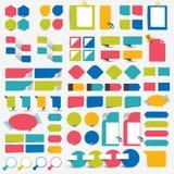De mega vastgestelde elementen van het infographics vlakke ontwerp, regelingen, grafieken, knopen, toespraak borrelt, stickers Stock Fotografie