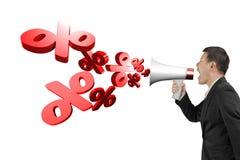 De megafoon van de mensengreep met percentagetekens die uit bespuiten Stock Foto