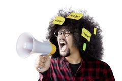 De megafoon van de mensenholding met kleverige nota's Stock Foto's