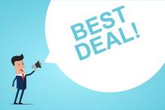 De Megafoon van zakenmanholding in hand met de BESTE OVEREENKOMST van de Toespraakbel! Aankondiging Vector illustratie stock illustratie