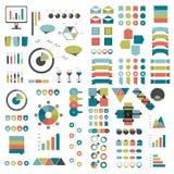 De megareeks grafieken van infographicselementen, grafieken, cirkelgrafieken, diagrammen, toespraak borrelt Vlak en 3D ontwerp Royalty-vrije Stock Afbeelding