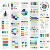 De megareeks grafieken van infographicselementen, grafieken, cirkelgrafieken, diagrammen, toespraak borrelt Vlak en 3D ontwerp Royalty-vrije Stock Fotografie