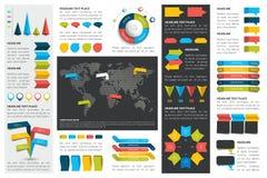 De megareeks grafieken van infographicselementen, grafieken, cirkelgrafieken, diagrammen, toespraak borrelt Vlak en 3D ontwerp Stock Foto