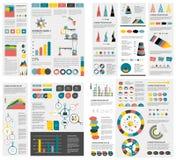 De megareeks grafieken van infographicselementen, grafieken, cirkelgrafieken, diagrammen, toespraak borrelt Vlak en 3D ontwerp Stock Fotografie