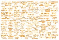 De megareeks van Halloween meer dan 100 zwart-witte eng en griezelig Royalty-vrije Illustratie