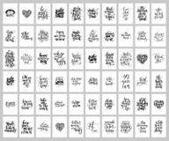 De megareeks van 60 overhandigt geschreven het van letters voorzien positieve inspirational quo Stock Afbeeldingen