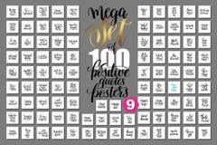 De megareeks van 100 overhandigt van letters voorziende positieve citatenaffiches Royalty-vrije Stock Afbeeldingen