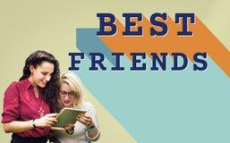De meilleurs amis de relations concept de camaraderie de connexion ensemble Photo stock