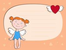 De meisje-engel met een hart Stock Afbeeldingen