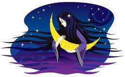 De meisje-nacht zingt een wiegeliedje voor de maan. Royalty-vrije Stock Afbeeldingen