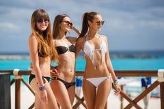 De meisjes in bikini ontspannen op de achtergrond van de oceaan Royalty-vrije Stock Foto's