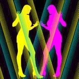 De Meisjes CMYK silhouetteren Spiegel vector illustratie